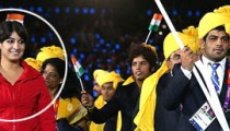 Madhura Honey is the lady in Red dress at walking with Indian Team at Olympic 2012